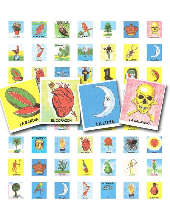 This is a page of .75 by .83 inch images taken from the iconic Mexican loteria game. Just the right size for making scrabble tile jewelry.  This is an instant download!  You will receive a jpg file of this vintage printable image in the email you have registered with Etsy. It will be a high quality printable 300 dpi image, without the watermark.  SAVE MONEY ~ use coupon codes: Buy 5 items and receive 20% off - Enter the code: FOR5FIVE Buy 10 items and receive 25% off - Enter the code…