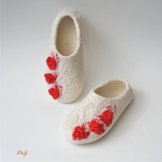 Felted white slippers from softest merino woolwith by RitaJFelt, $70.00