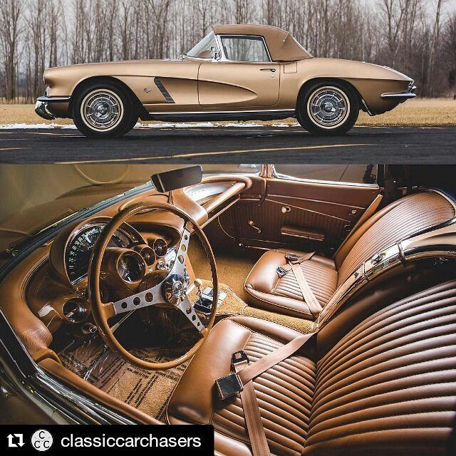 Swoon 😍  Repost from @classiccarchasers The Golden Goose: ClassicCarChasers.com _____________________________________________ 1962 Chevrolet Corvette Styling Car Experimental Gold with Yellow-Gold interior @Mecum_Auctions Indianapolis Sale Est. TBA The General Motors Styling Department conceived a handful of factory-experimental Corvettes for important people and special occasions throughout the 1960s. Identified by their Shop Order numbers a few of these distinct cars were built for GM…