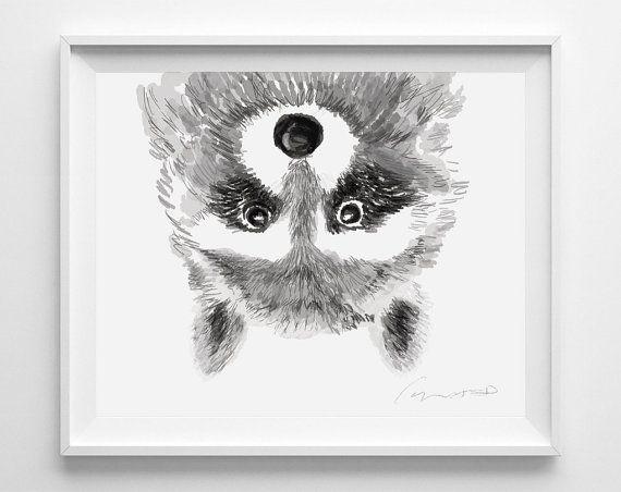 Raccoon Print Baby Nursery Art Watercolor by TripleStudio                                                                                                                                                                                 Más