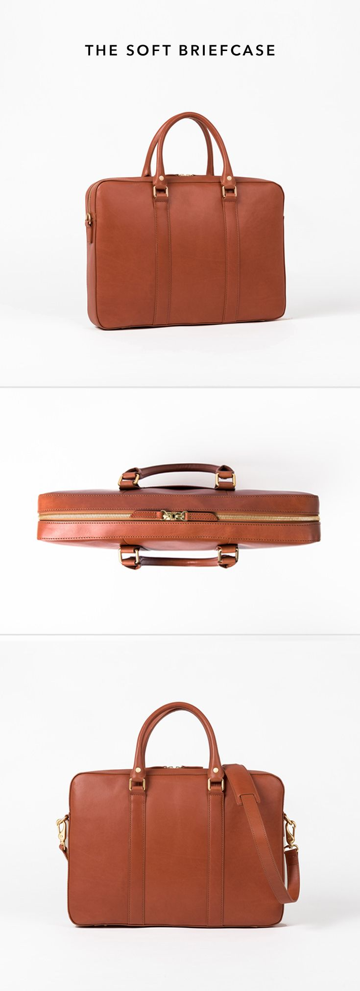 Fine leather goods without the luxury markup: A slim leather briefcase fit for the boardroom and the neighborhood café. 100% full grain vegetable-tanned leather.