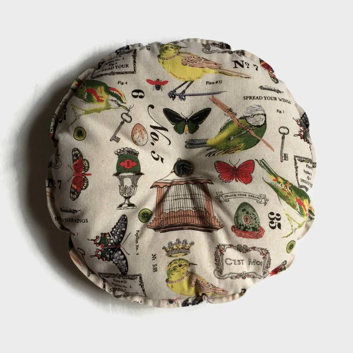 Pair of Round Cushions, Bistro Chair Cushions, Bistro Set, Seat Cushions, Butterfly and Bird Fabric, Garden Cushions by RetroChicCrafts on Etsy