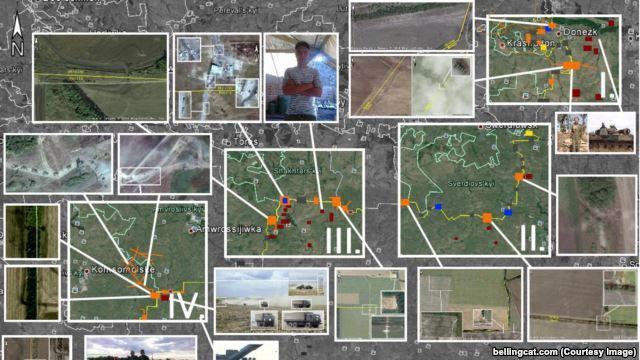 Россия на тропах войны Расследование Bellingcat на основе спутниковых снимков показывает, где российские военные и техника пересекают украинскую границу Набор снимков из космоса, иллюстрация Bellingcat к своему расследованию