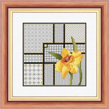Daffodil and Blackwork - Aida Kit