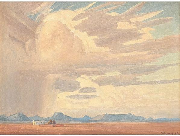 Karoo Reën by Jacob Hendrik Pierneef, South African painter, 1938 ☁