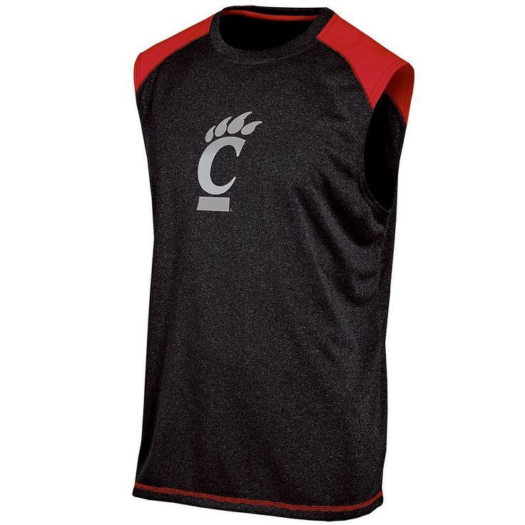 Men's Champion Cincinnati Bearcats Colorblock Muscle Tee, Size: Large, Black
