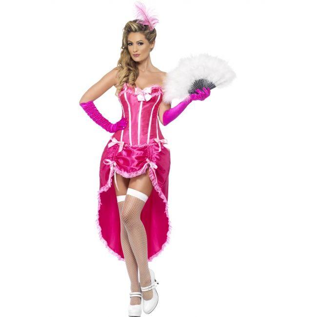 Roze burlesque danseres kostuum voor dames. Roze burlesque kostuum met korset en verstelbare rok. Exclusief accessoires.