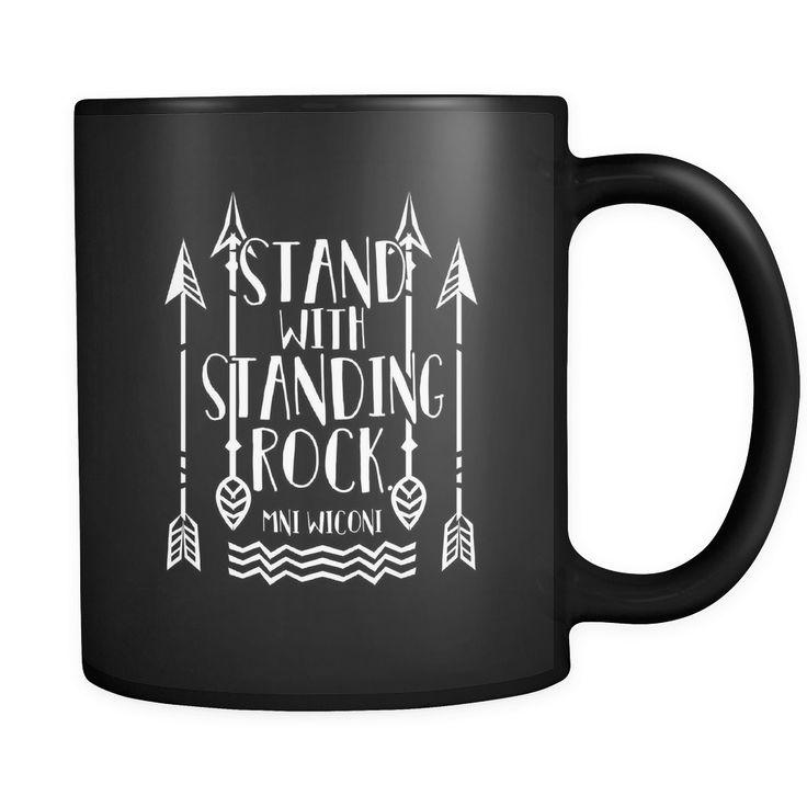 """Custom Printed Mug - """"Stand with Standing Rock - Mni Wiconi"""" 11 oz Travel Mug"""