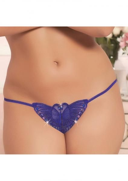 Eight Shades of Play - blue butterfly thong