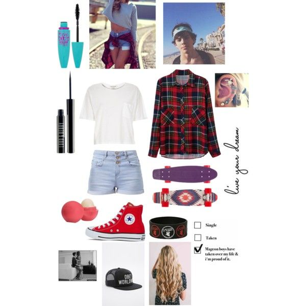 Penny boarding Date with Hayes Grier by britt-nicole-2 on Polyvore featuring polyvore, fashion, style, River Island, Converse, OBEY Clothing, Lord & Berry, Maybelline and Eos