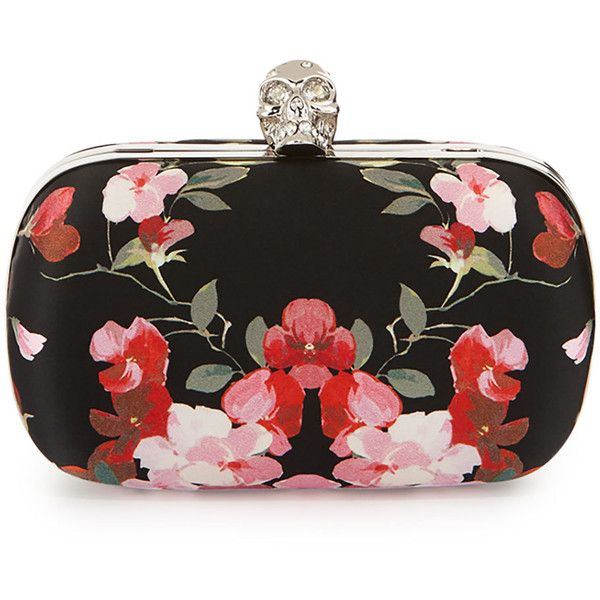 Alexander McQueen Classic Skull Floral Satin Clutch Bag w/Chain ($1,695) ❤ liked on Polyvore featuring bags, handbags, clutches, black multi, skull handbag, floral clutches, skull purse, black clutches and black skull purse