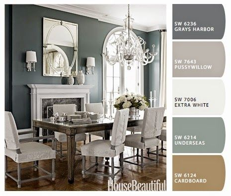 neutral toned cool blues glamorous modern elegant dining room sherwin williams - Dining Room Color Palette