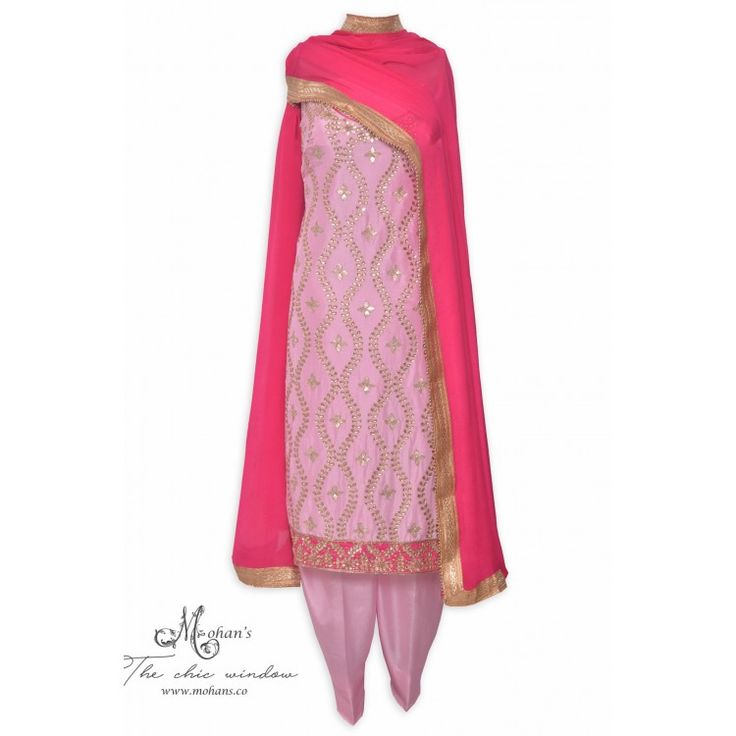 Traditional blush pink unstitched salwar kameez adorn in gota and kundan work
