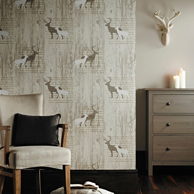 absolutely love this stag wallpaper from next home | Wallpaper