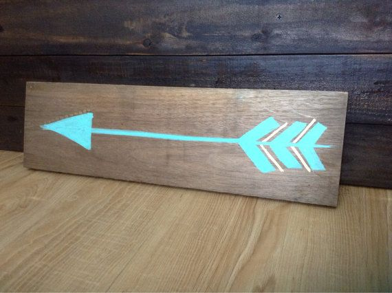 Arrow Painting Gold and Turquoise on Distressed by KandKWorkshop, $16.00