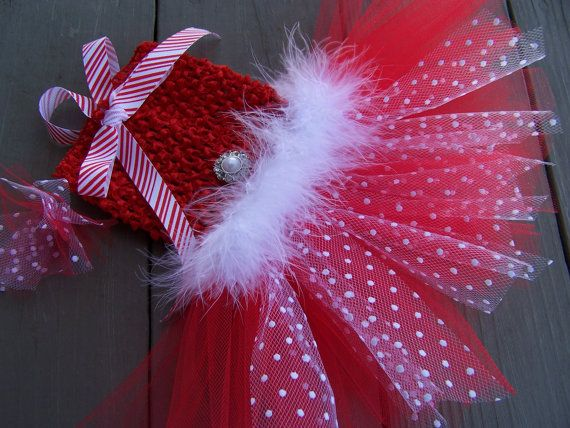 Dog TuTu Dress candy canes and snowflakes Hair bow by Frillypaws,