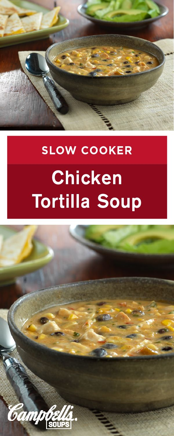 This ultra-flavorful Slow Cooker Chicken Tortilla Soup recipe is worth the wait. Plus, the slow cooker makes it easy, and the savory combination of chicken, beans, corn, and picante sauce makes it an absolutely delicious addition to your dinner table.