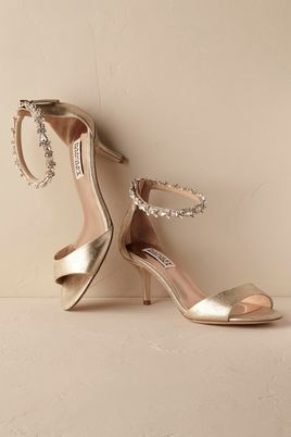 Gold Strappy BHLDN Bridal Heels