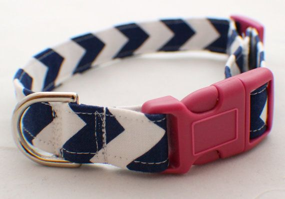 Personalized Navy Chevron Fabric Dog Collar Your by MBEmbroidery, $18.50  For Miss Fergs