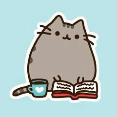 Pusheen, reading, book, coffee; Pusheen