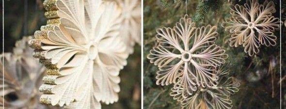 Flocos de neve feitos com papel reaproveitado