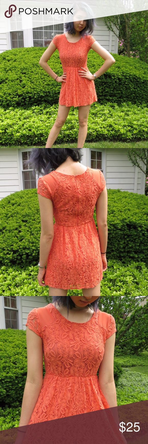 Coincidence & Chance women's lace dress / size xs Urban Outfitters / Coincidence and Chance coral lace dress in size xs (fits size xxs-s). Worn very lightly and in great condition. Urban Outfitters Dresses