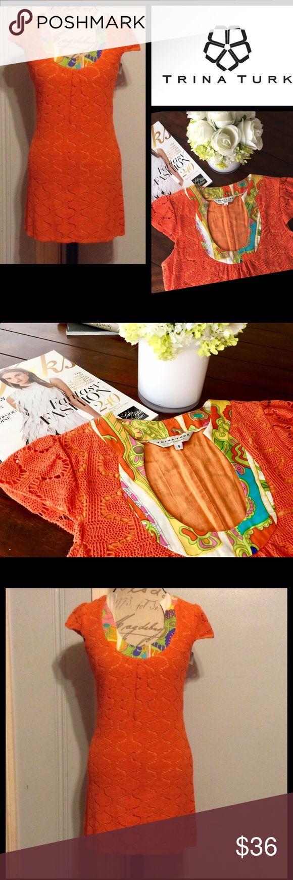 ✴️Trina Turk✴️Crochet Spring Shift Dress ☼Cap Sleeves, Knee Length, Yoke Neck Design ☼Gorgeous Orange/Coral-like Spring & Summer Color! ☼Size:  4 ☼Worn twice, fantastic condition💎 ☼Mom purchased at retail $248 🔥 ☼Make offers 😘 & Bundle to save 20%! Trina Turk Dresses Mini