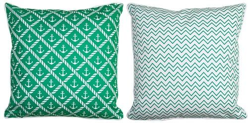 Sugarloaf Key Reversible Anchor and Chevron Throw Pillow front