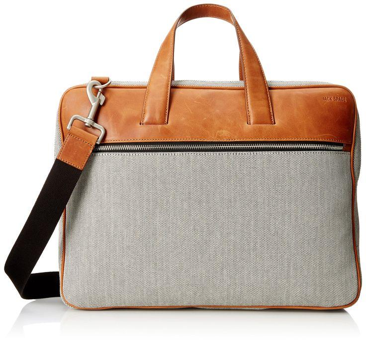 Jack Spade Men's Oxford Leather Landon Travel Brief, Grey, One Size
