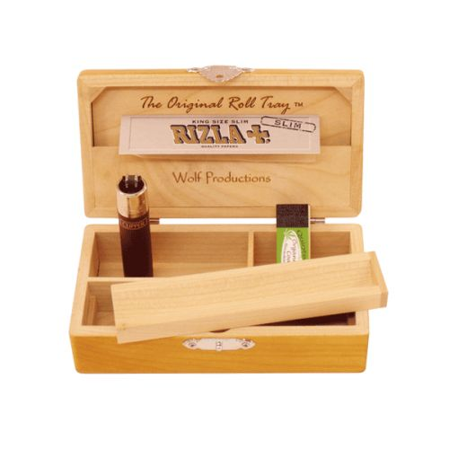 Wolf Productions Deluxe Rolling Box - T2. Made from quality Red Birch with Rizla storage and 2 compartments for your other rolling needs. Dimensions - 140 x 80 x 40mm. For more information, please click the link or visit dotcombong.com. (Contents not included).