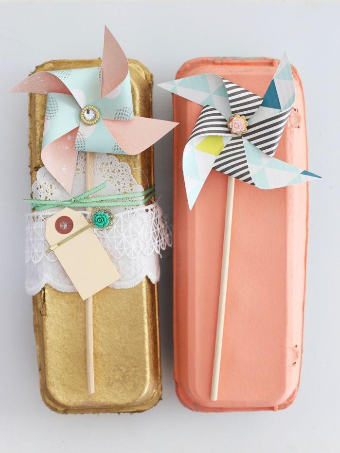 painted egg cartons and pinwheels.