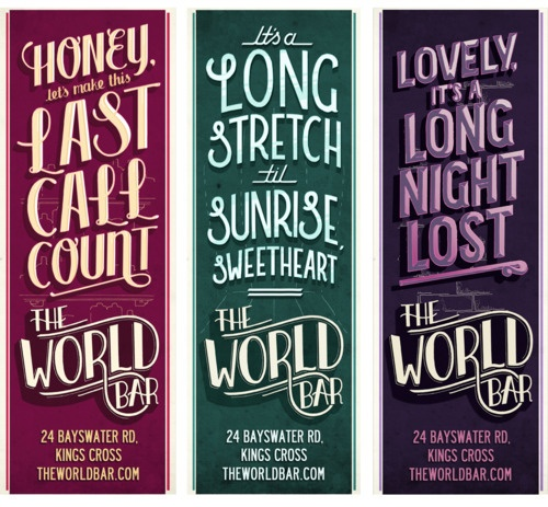 'Noir Nights' for The World Bar: lettering