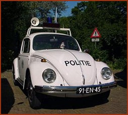 Politieauto VW Kever.  Old-fasioned Police Car, VW Beetle.