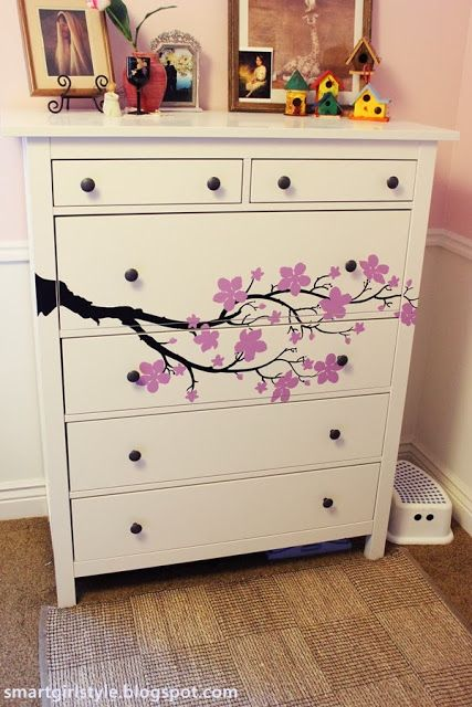 smartgirlstyle: Ikea Hack (Hemnes) with Cozy Wall Art Decal