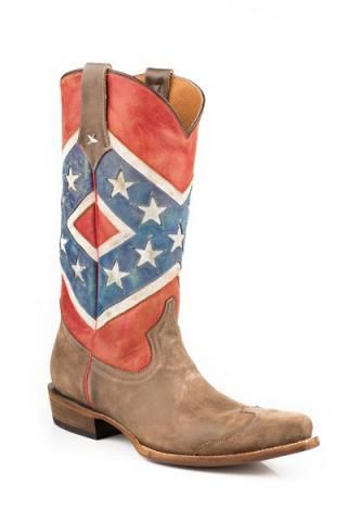 Roper Rebel Flag-brown Toe Cap Snip Toe Americana Collection Cowboy Boots Urban