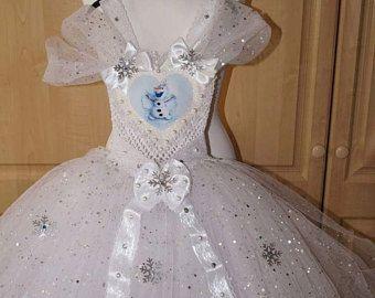Handmade Girls Frozen Olaf Tutu Dress