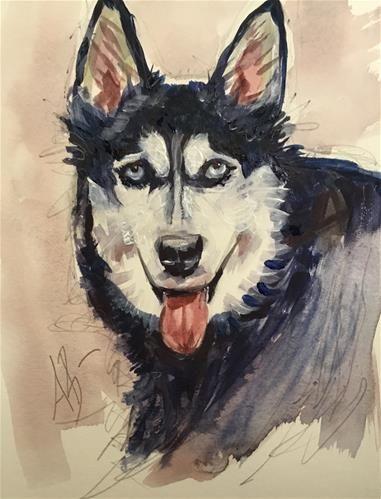 "Daily Paintworks - ""Siberian Husky"" - Original Fine Art for Sale - © Annette Balesteri"