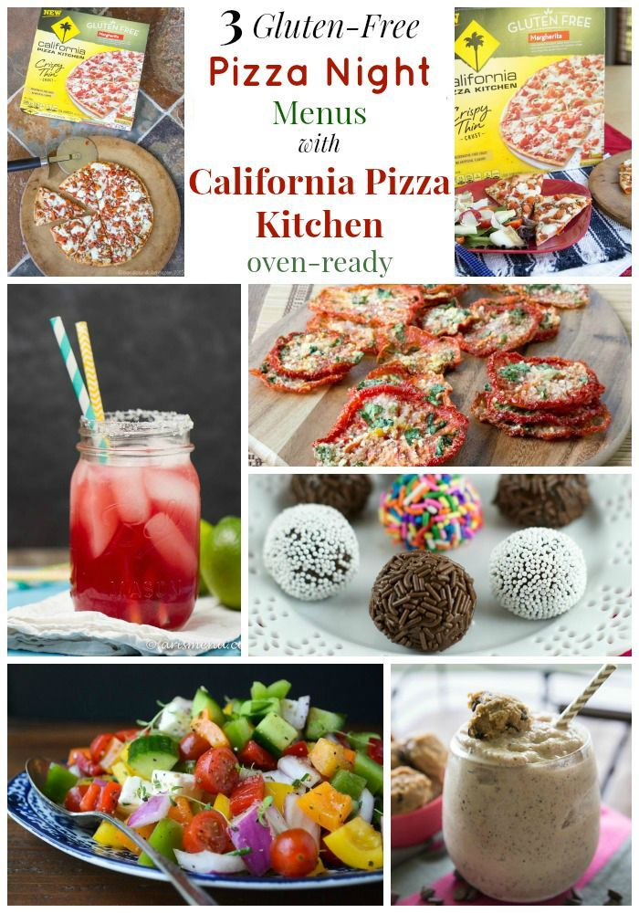 3 Gluten-Free Pizza Night Menus with California Pizza Kitchen Oven-Ready Pizza paired with sides, salads, drinks and desserts. #mycpkpizza #ad | cupcakesandkalechips.com