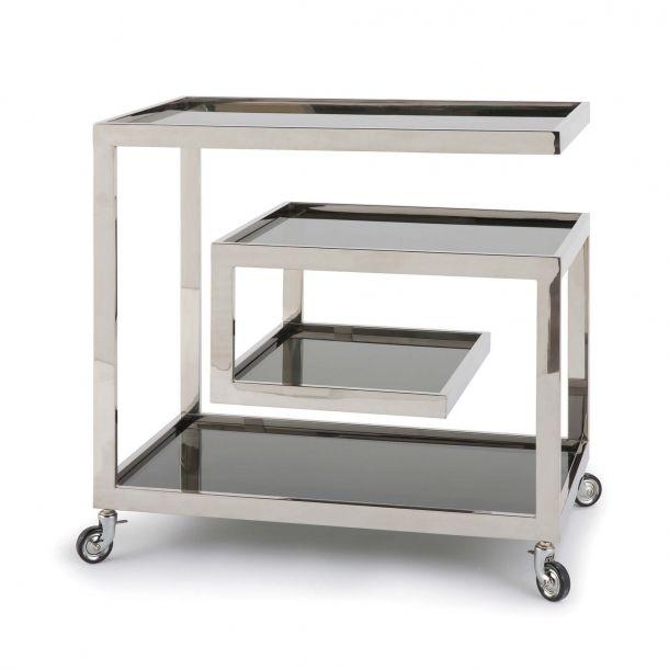 Elegant White Metal Bar Cart
