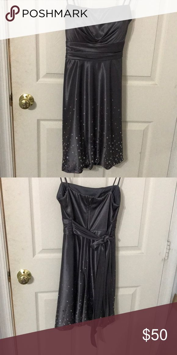 Thigh length Night out dress Grey with silver dots on the bottom Dresses Strapless