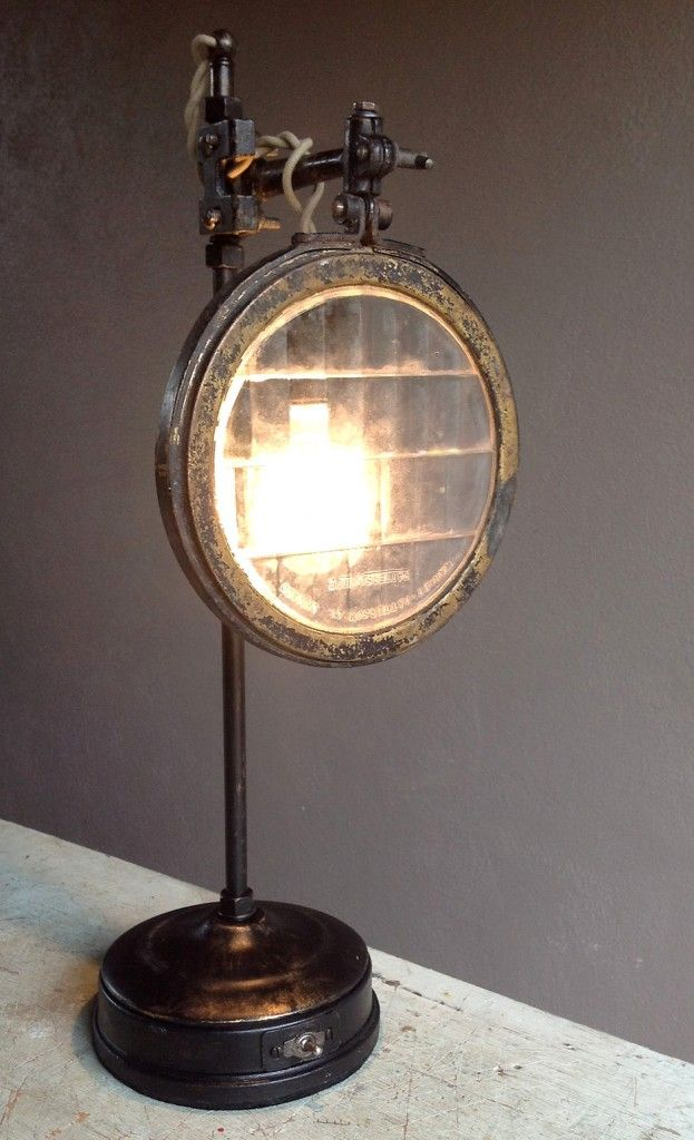 Headlamp Lens table lamp crafted of industrial parts and vintage auto headlamp lens - sold in San Diego, CA store