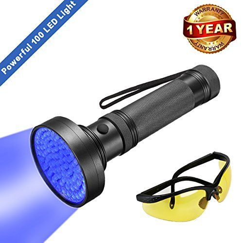 UV Black Light Flashlight, Super Bright 100 LED #1 Best Pet Dog Cat Urine Detector light Flashlight for Pet Urine Stains, UV Blacklight Flashlight with UV Sunglasses for Bed Bugs Scorpions, Home Hotel. For product & price info go to:  https://all4hiking.com/products/uv-black-light-flashlight-super-bright-100-led-1-best-pet-dog-cat-urine-detector-light-flashlight-for-pet-urine-stains-uv-blacklight-flashlight-with-uv-sunglasses-for-bed-bugs-scorpions-home-hotel/