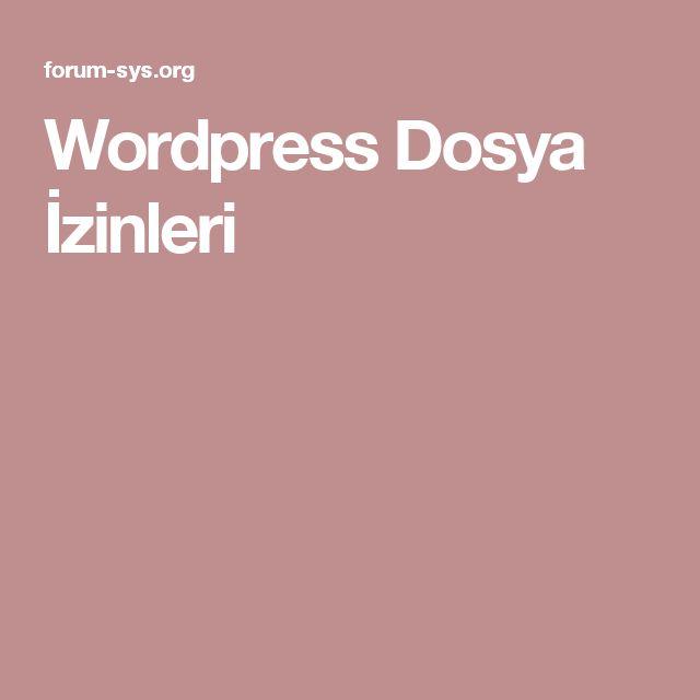 Wordpress Dosya İzinleri