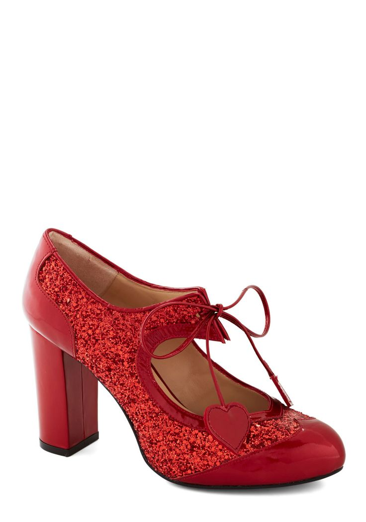 Heart Work and Dedication Heel in Ruby | Mod Retro Vintage Heels | ModCloth.com