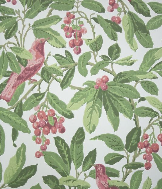 Royal Garden Wallpaper A large scale wallpaper featuring colourful coral pink birds in a green cherry tree on a cream background.