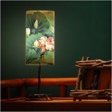 Verse en elegante chinese stijl lotus eco-vriendelijke pvc kleine e27 led tafellamp bed-verlichting livingroom studie lamp(China (Mainland))