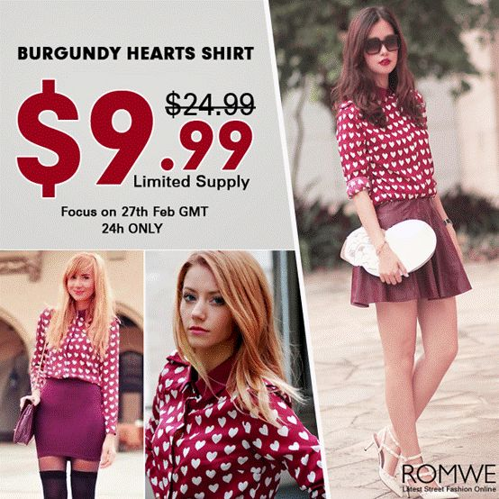 Burgundy Heart Shirt, $9.99 on 27th Feb only!  300 pieces for $9.99! Don't miss out.  http://www.romwe.com/romwe-white-heart-pattern-red-chiffon-shirt-p-71927.html  Btw, up to 70% off on best sellers, check out:  http://www.romwe.com/FASHION-LOOKS-c-481.html?Susie