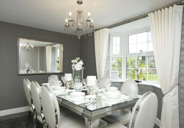 David Wilson Homes Greylees French Sage Green Textured Walls With Silver Accented Dining