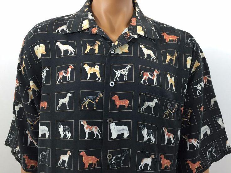 Tori Richards Hawaiian Camp Shirt Dog Breeds 100 Silk