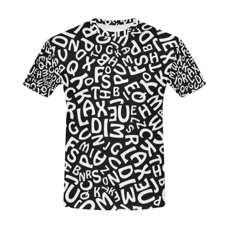 Alphabet Black and White Letters Men's All Over Print T-Shirt (USA Size) (Model T40)